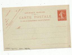 Sur Carte Postale , ENTIER POSTAL NEUF ,  10c - Entiers Postaux