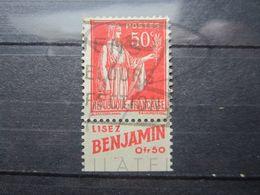 """VEND BEAU TIMBRE DE FRANCE N° 283 , TYPE I + BANDE PUBLICITAIRE """" BENJAMIN """" !!! (c) - Publicités"""