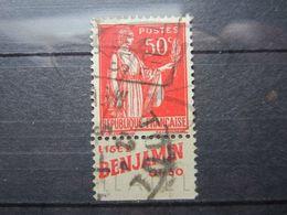 """VEND BEAU TIMBRE DE FRANCE N° 283 , TYPE I + BANDE PUBLICITAIRE """" BENJAMIN """" !!! (d) - Publicités"""
