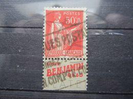 "VEND BEAU TIMBRE DE FRANCE N° 283 , TYPE I + BANDE PUBLICITAIRE "" BENJAMIN "" !!! (e) - Advertising"