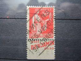"""VEND BEAU TIMBRE DE FRANCE N° 283 , TYPE I + BANDE PUBLICITAIRE """" BENJAMIN """" !!! (f) - Publicités"""