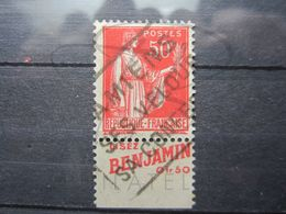 "VEND BEAU TIMBRE DE FRANCE N° 283 , TYPE I + BANDE PUBLICITAIRE "" BENJAMIN "" !!! (f) - Advertising"