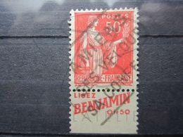 "VEND BEAU TIMBRE DE FRANCE N° 283 , TYPE I + BANDE PUBLICITAIRE "" BENJAMIN "" !!! (g) - Advertising"