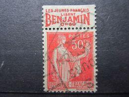 """VEND BEAU TIMBRE DE FRANCE N° 283 , TYPE I + BANDE PUBLICITAIRE """" BENJAMIN """" !!! (j) - Publicités"""