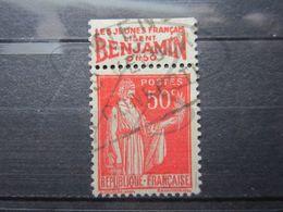 """VEND BEAU TIMBRE DE FRANCE N° 283 , TYPE I + BANDE PUBLICITAIRE """" BENJAMIN """" !!! (m) - Publicités"""