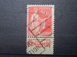 """VEND BEAU TIMBRE DE FRANCE N° 283 , TYPE I + BANDE PUBLICITAIRE """" BENJAMIN """" !!! (x) - Publicités"""