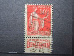 """VEND BEAU TIMBRE DE FRANCE N° 283 , TYPE I + BANDE PUBLICITAIRE """" BENJAMIN """" !!! (y) - Publicités"""