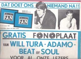 MUSIC FAN  NR 92 VAN  OKTOBER 1968  - WILL TURA - ADAMO - THE BEATLES  -  GROOT FORMAAT - NEDERLANDS  (MF 92 ) - Tijdschriften