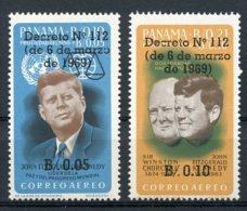 Panama, 1969, Kennedy, JFK, Churchill, MNH Overprinted, Michel 1145-1146 - Panama