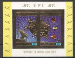 B809 !!! IMPERFORATE GUINEA ECUATORIAL GOLD SPACE UPU ESPANA 75 MADRID 1KB MNH - Raumfahrt