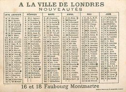Petit Calendrier Ancien 1876 - A La Ville De Londres , Nouveautés - Illustré - éventail Range - Chromos Chromo - WXC5 - Calendars