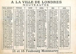 Petit Calendrier Ancien 1876 - A La Ville De Londres , Nouveautés - Illustré - éventail Range Arlequin - Chromo - WXC5 - Calendars