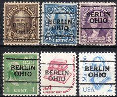 USA Precancel Vorausentwertung Preo, Locals Ohio, Berlin 701, 6 Diff., Perf. 11x10 1/2 - Vereinigte Staaten