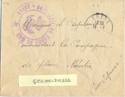 GUERRE 14-18  BREST - ARTILLERIE DU FRONT DE MER * TàD BREST FINISTERE Du 12-2-?? => Capitaine Cdt De La Place NANTES - Marcophilie (Lettres)
