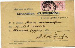 EGYPTE CARTE POSTALE BON POUR UN FLACON ECHANTILLON D'URISANINE DEPART ALEXANDRIA ? ? 23 POUR LA FRANCE - Covers & Documents