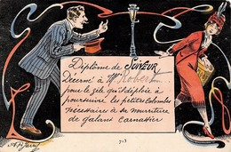Illustration - Diplôme De Suiveur - Jeune Femme Homme Art Nouveau Drague Dragueur - Illustratoren & Fotografen