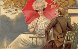 Illustration - Le Flirt - Couple Jeune Femme Jardin - Illustratoren & Fotografen