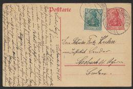 """Mi-Nr. VP 107, Vorläuferkarte Mit Pass. Zusatzfrankatur, Bedarf  """"Dudweiler"""", 24.1.20 - 1920-35 Saargebiet – Abstimmungsgebiet"""