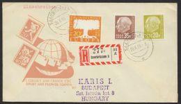 """Mi-Nr. 402, 417, 420, """"Heuß"""" Dek. MiF Auf R-Brief Nach Ungarn Mit Ankunft - 1957-59 Bundesland"""