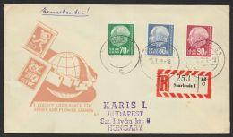 """Mi-Nr. 423/5, """"Heuß"""", Dek. MiF Auf R-Brief Nach Ungarn Mit Ankunft - 1957-59 Bundesland"""