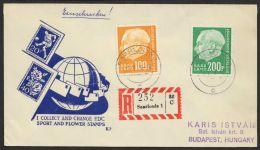 """Mi-Nr. 426/7, """"Heuß II"""", Dek. MiF Auf R.Brief Nach Ungarn Mit Ankunft - 1957-59 Bundesland"""