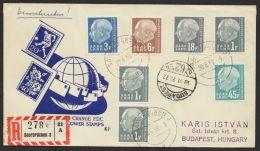 Mi-Nr. 409/10, 412, 416, 421, Dek. MiF Auf R-Brief Nach Ungarn Mit Ankunft - 1957-59 Bundesland