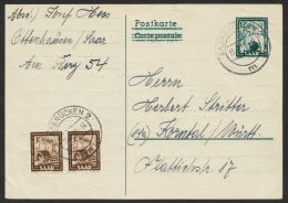 "Mi-Nr. P 37IIA, ""saubere Bedarfskarte Mit Zusatzfrankatur, O - 1957-59 Bundesland"