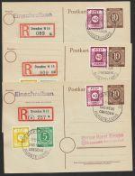 """Mi-Nr.47 A, 50 A, Schöne MiF Auf 3 Orts-R-Karten """"Dresden"""", 1946, Versch. Stempel-Daten Und Versch. R-Zettel - Sowjetische Zone (SBZ)"""