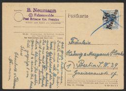 """Mi-Nr. 170 VII, Bezirks-Handstempel """"36 Prenzlau"""", Bedarfskarte Nach Berlin Mit Blaustrich-Entwertung - Soviet Zone"""