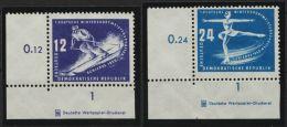 """Mi-Nr. 246/7 DZ, """"Wintersport"""", 1950, Je ER-STück Mit Druckereizeichen, ** - DDR"""