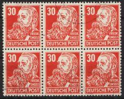 """Mi-Nr. 334 Va, """"Engels"""", 6er Block, Zart Gestempelt, Gepr. Weigelt, O - DDR"""