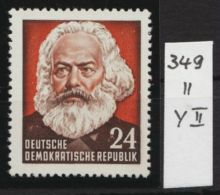 """Mi-Nr. 349 II Y II, """"Karl Marx"""", Bessere Variante, Selten, ** - Ungebraucht"""