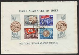 """Mi-Nr. Block 9B, """"Marx-Block"""", Rückseitig Auf Bedarfsbrief """"Sangerhausen"""", 25.10.53 Nach Duisburg - DDR"""