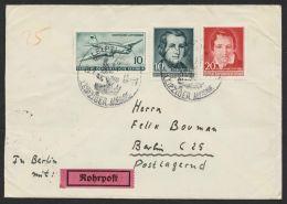 """Mi-Nr. 513 + 516/7, MiF Auf Bedarfsbrief""""Leipzig"""", 29.2.56 Nach Berlin Dort Als Rohrpost Mit Entspr. Stempeln Rückseitig - Briefe U. Dokumente"""