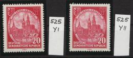 """Mi-Nr. 525 YI, YII, """"750 Jahre Dresden"""", Beide Wasserzeichenvarianten, ** - Ungebraucht"""