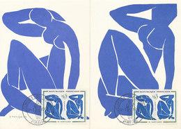 D32752 - 2 CARTES MAXIMUM CARDS 1962 FRANCE - BLUE NUDE BY HENRI MATISSE - POSTMARK JOURNEE DU TIMBRE CP ORIGINAL - Nudes