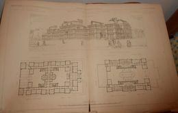 Plan De L'école Supérieure Anglaise Et Lycée Des études Classiques De Boston Pour 1800 élèves. Etats Unis. 1879 - Travaux Publics