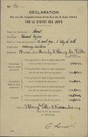 Guerre 39 Document Notarial Commissariat Question Juive Confiscation Biens Aux Juifs Judaica Loi 2 6 41 Etang La Ville - Postmark Collection (Covers)