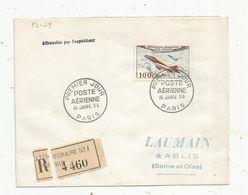 Premier Jour , FDC , POSTE AERIENNE , 16 Janv. 1954 ,Paris , Recommandé ,temporaire N° 1, Affranchie Par L'expéditeur - 1950-1959