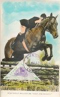 D32764 CARTE MAXIMUM CARD RR 1957 LUNDY - HORSE JUMPING EQUISTRIAN - TRIANGULAR STAMP CP ORIGINAL - Jumping