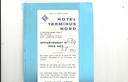 TICKET DE CHAMBRE N° 624 . 28 Frs . HOTEL TERMINUS NORD A PARIS 10e. - France
