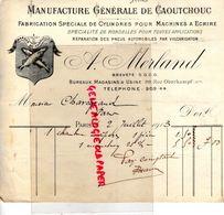 75-PARIS- RARE FACTURE A. MERLAND-MANUFACTURE CAOUTCHOUC-FABRICATION CYLINDRES MACHINES A ECRIRE-99 RUE OBERKAMPF-1913 - Petits Métiers