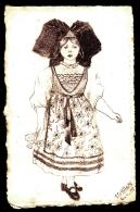 CPA ANCIENNE FRANCE- RARE DESSIN AU CRAYON SUR  CARTE PAPIER CANSON-  L'ALSACIENNE- SIGNÉ LEVILLAIN 1915- - Illustrateurs & Photographes