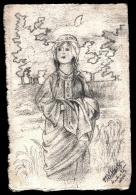 CPA ANCIENNE FRANCE- RARE DESSIN AU CRAYON SUR  CARTE PAPIER CANSON- LA LORRAINE- SIGNÉ LEVILLAIN 1915- - Illustratori & Fotografie