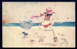 CPA ANCIENNE FRANCE- AQUARELLE  SUR PAPIER CASON- SCENE DE PLAGE- SIGNÉ MARY L'EXPEDITRICE - Illustrateurs & Photographes