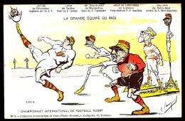 CPA ANCIENNE FRANCE- MILITARIA HUMORISTIQUE-L'EQUIPE DU MIDI  JOUE AU FOOT AVEC LA TETE DE GUILLAUME- SIGNÉE  SANGUI ?? - Humoristiques
