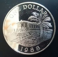 "BERMUDA 1 DOLLAR 1988 SILVER UNC ""Railroad"" Free Shipping Via Registered Air Mail - Bermudes"