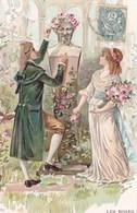 Illustration Jeune Couple Vers 18 Eme Bouquet De Rose Buste De Pierre Statue 1904 Precurseur - Fleurs