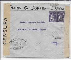1916 - PORTUGAL - ENVELOPPE Avec DOUBLE CENSURE De LISBONNE => PARIS - Lettres & Documents