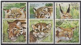 LOTE 1624  ///  (C068)  TEMA FAUNA  - FELINOS  Laos 1981  YVERT Nº: 370/375 - Raubkatzen